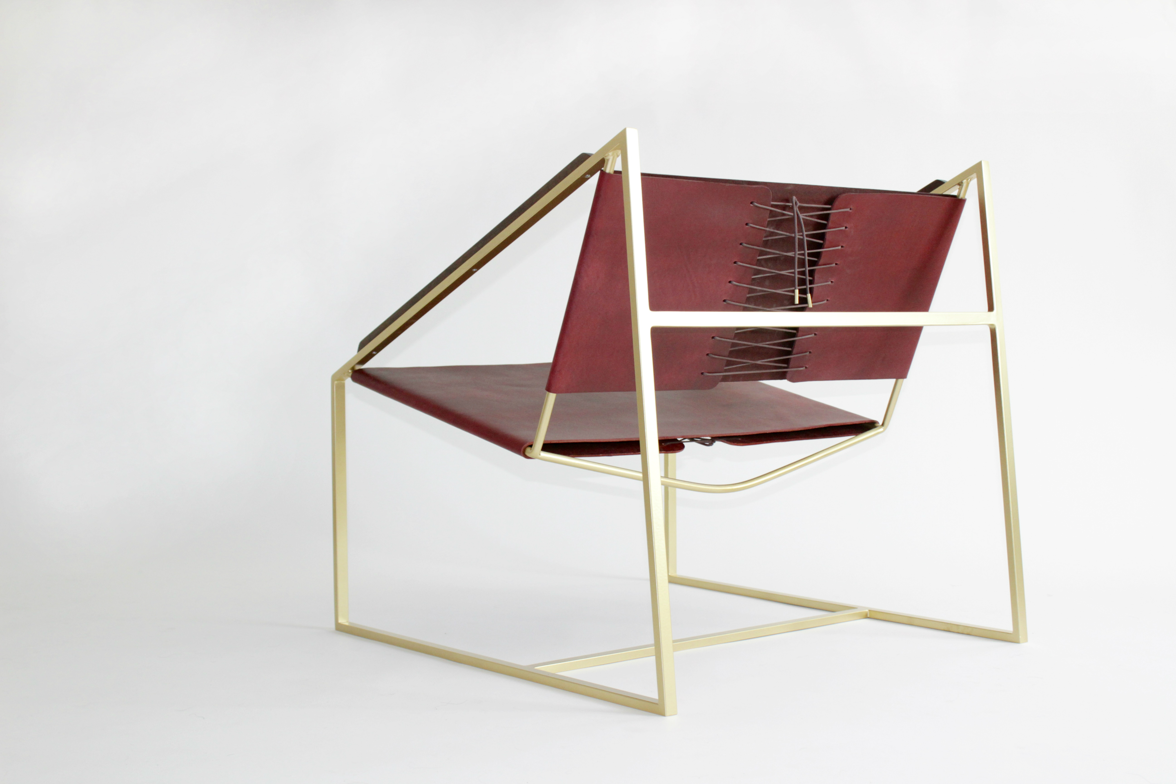 LZ1 Brass Lounge Chair in Oxblood - Back