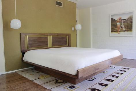 Custom Walnut and Brass Bed