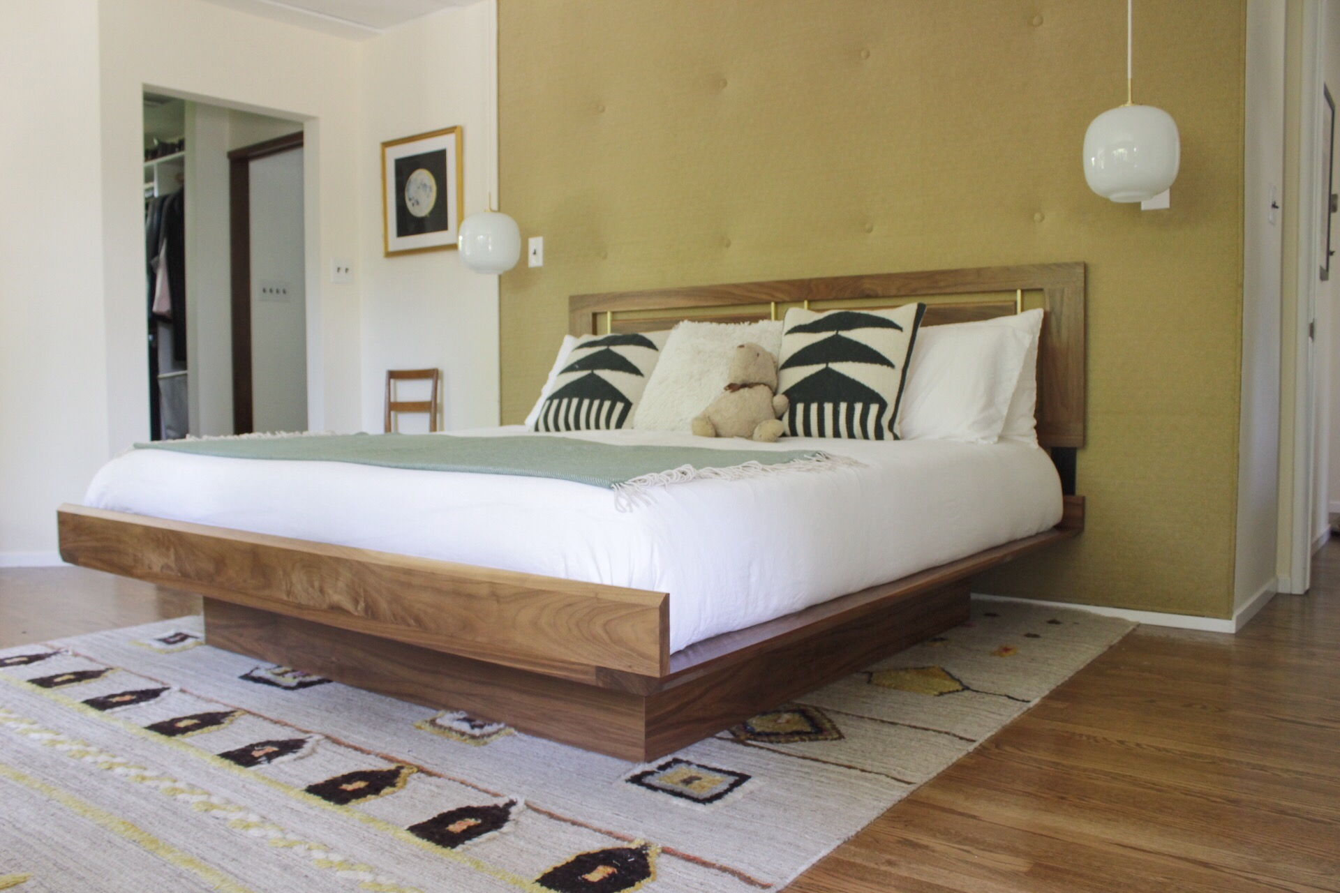 Custom Walnut & Brass Bed
