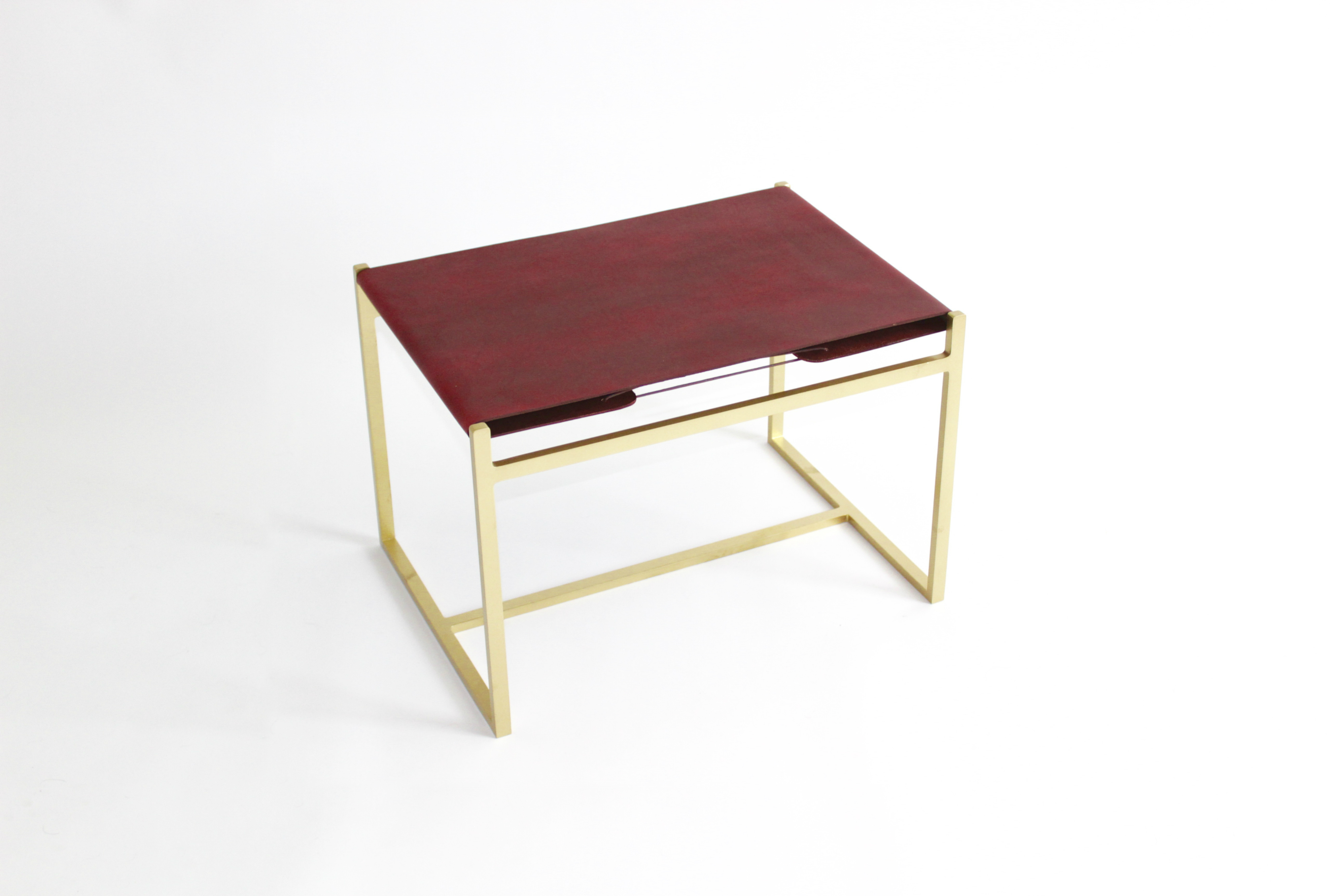 LS1 Brass & Leather Ottoman