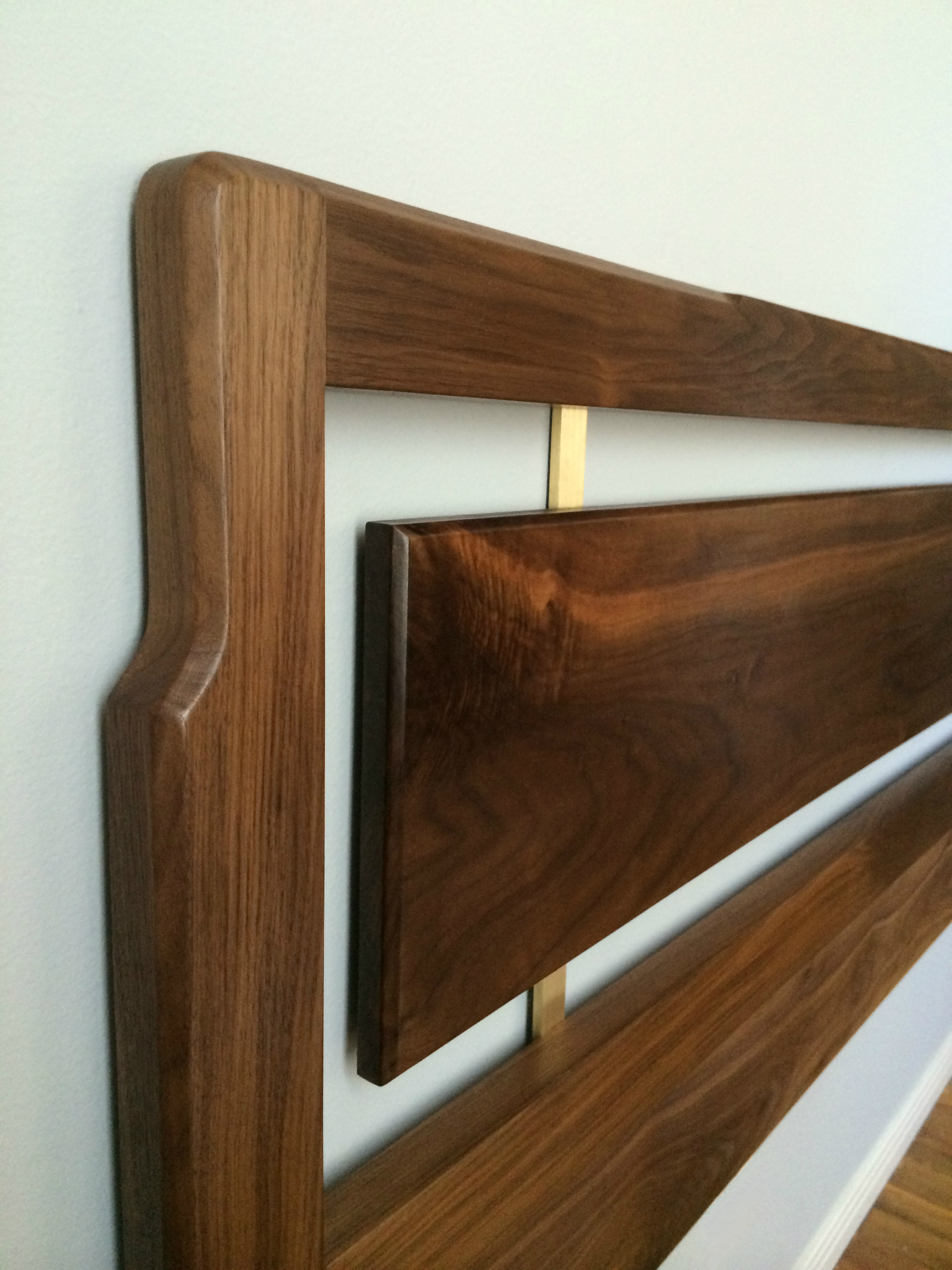 Walnut and Brass Headboard