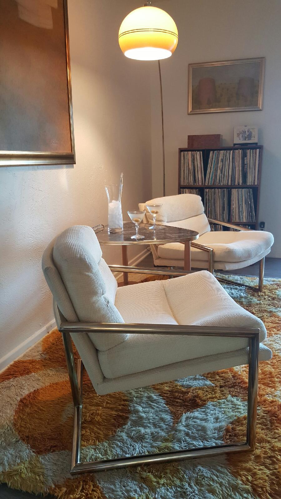 Brass Milo Baughman Lounge Chairs