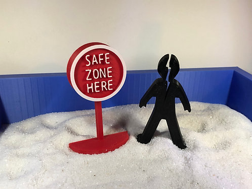 Safe Zone Here Sign and Spilt Person