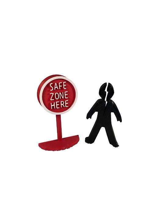 Trauma Set (Safe Zone Here Sign & Broken Person)