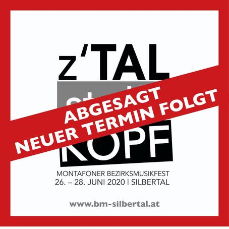 Absage Z'Tal stoht Kopf 2020