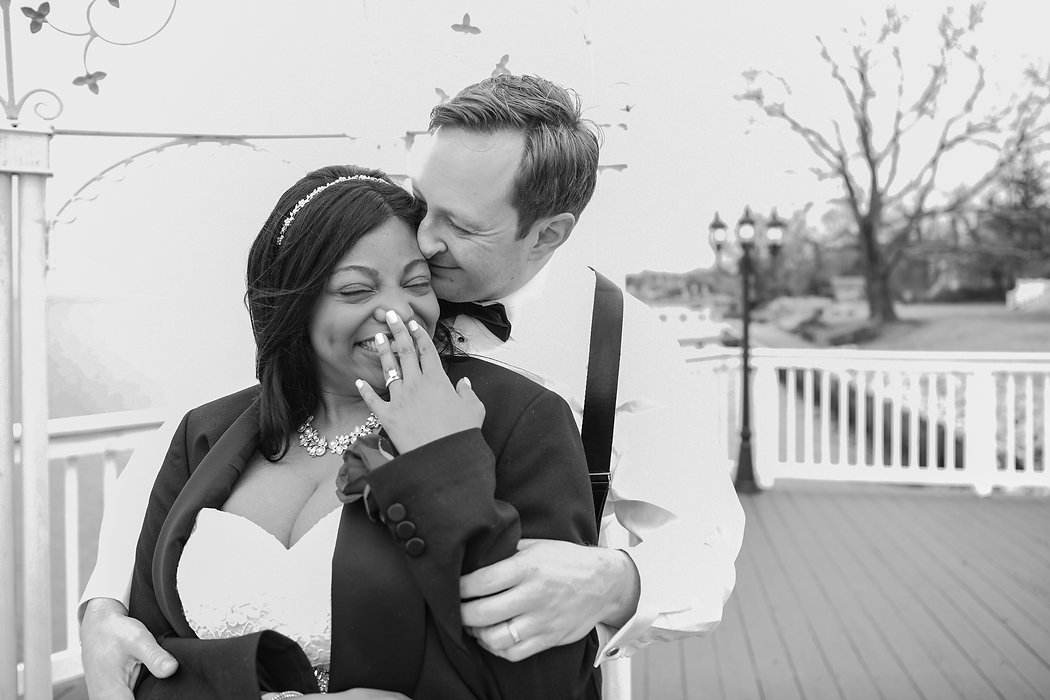 bride and groom laughing at maryland wedding