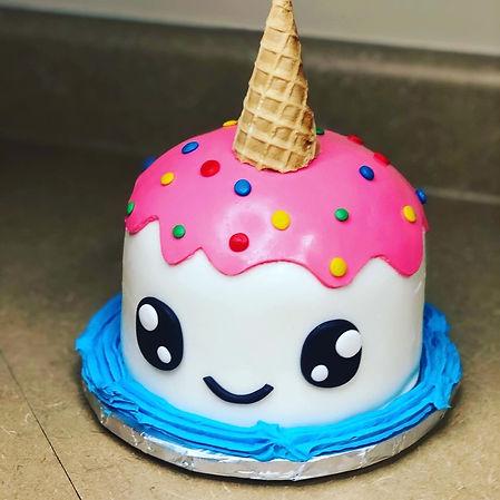 Custom upside down ice cream cake with sprinkles