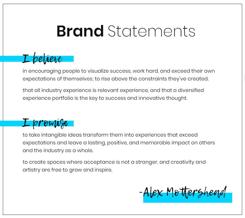 Alex's Brand Statement