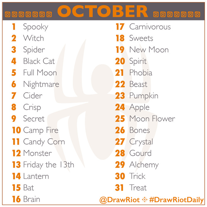 #DrawRiotDaily October & more October challenges!