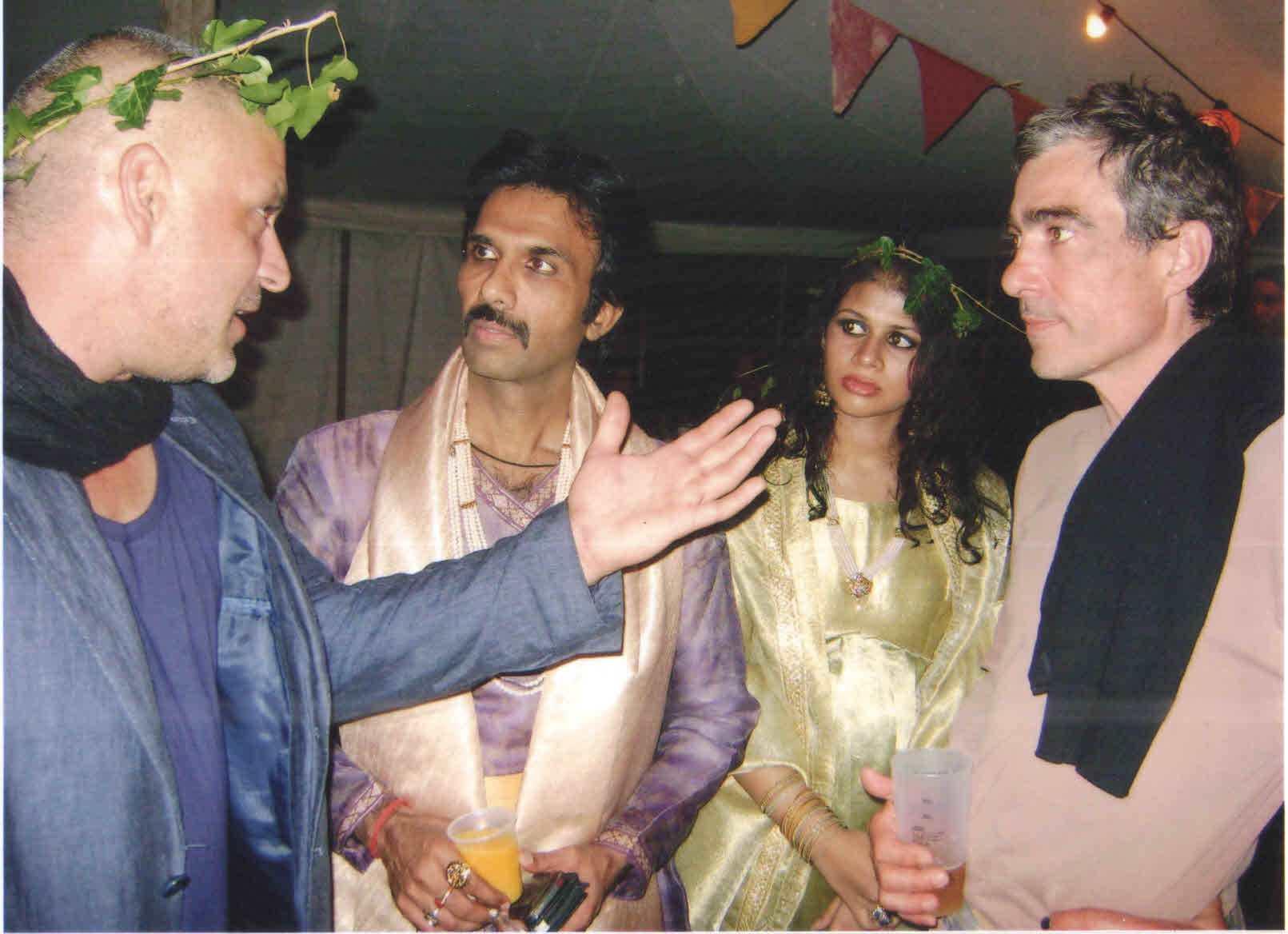 Mohammad Ali Baig with British actor Mark, playwright-actress Noor Baig and Francois Lecox (son of w