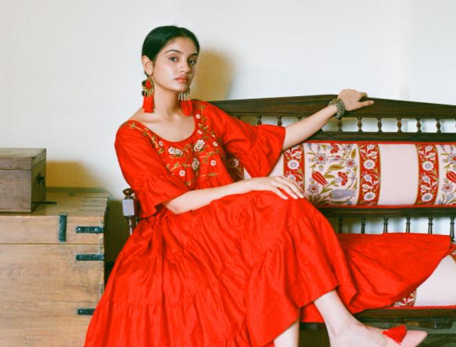 Cinnabar Henna Red Dress