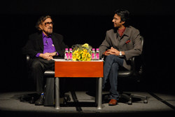Alyque Padamsee & Mohammad Ali Baig in conversation during a session of 'Celebrating Theatre'
