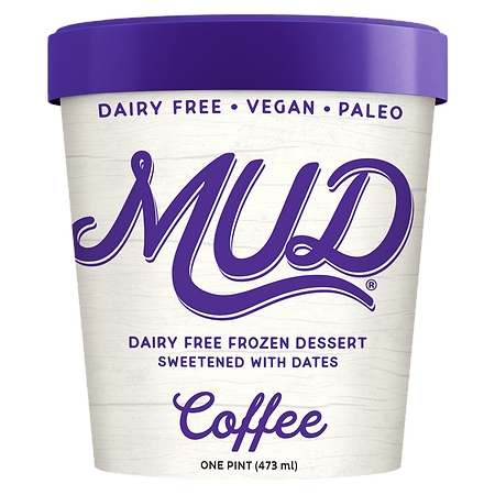 Coffee MUD has intense coffee flavor and is dairy fee, vegan, paleo, gluten free, soy free, non gmo, has no added sugars and is sweetened only with dates and tastes delicious! Rich an creamy plant based ice cream.