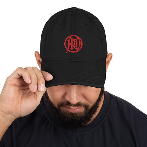 Red Circle of Death Distressed Hat
