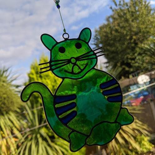 Green Cat Sun Catcher UK Postage