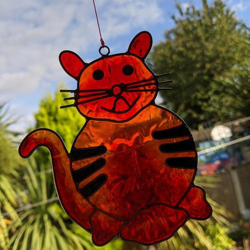Orange Cat Sun Catcher UK Postage