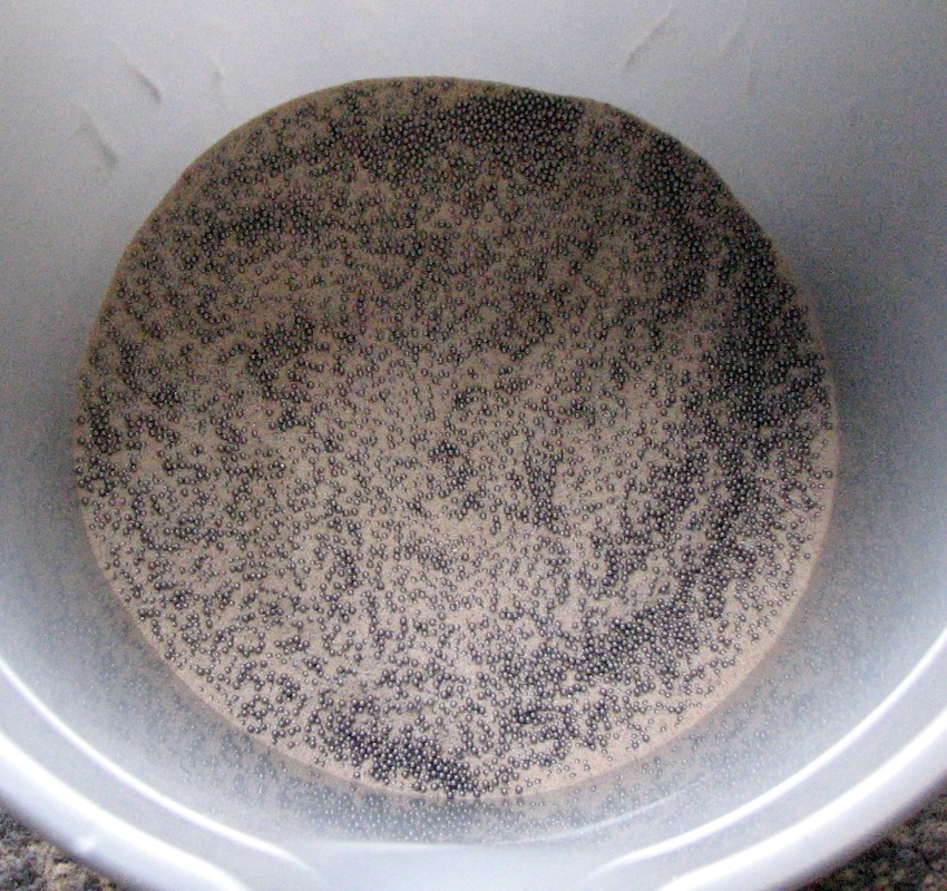 Sand mixed with lead shot