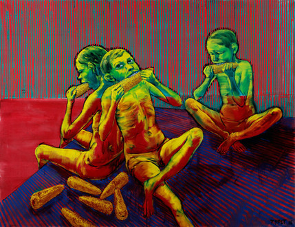 Maisesser vor brilliant-rotem Hintergrund