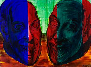 Zwei Köpfe vor hellgelbem Hintergrund
