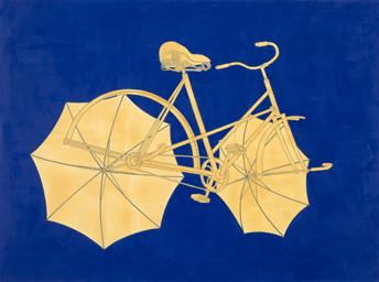 Abfahrendes Fahrrad mit Regenschirmen auf Kobaltblau