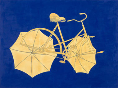 Departing bicycle with umbrellas on cobalt blue