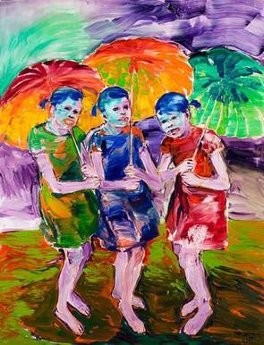 Girls with Umbrellas