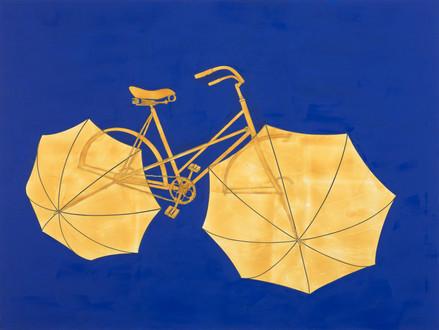 Fahrrad mit Regenschrimen in Kobaltblau