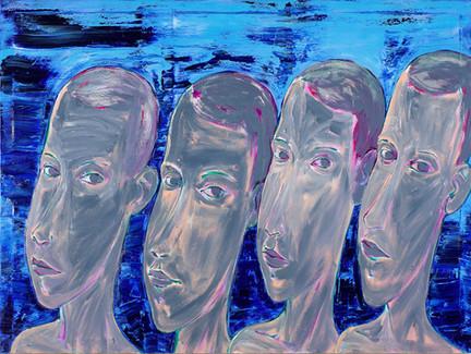 Muži před korálově modrým pozadím
