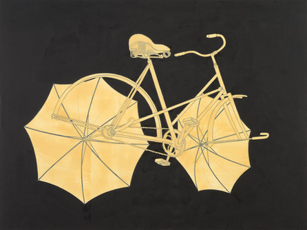 Departing bicycle with umbrellas on dark background
