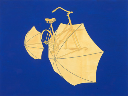Arriving bicycle with umbrellas on cobalt blue