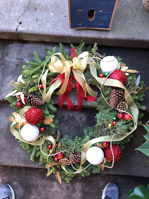 Decorated fresh pine wreath
