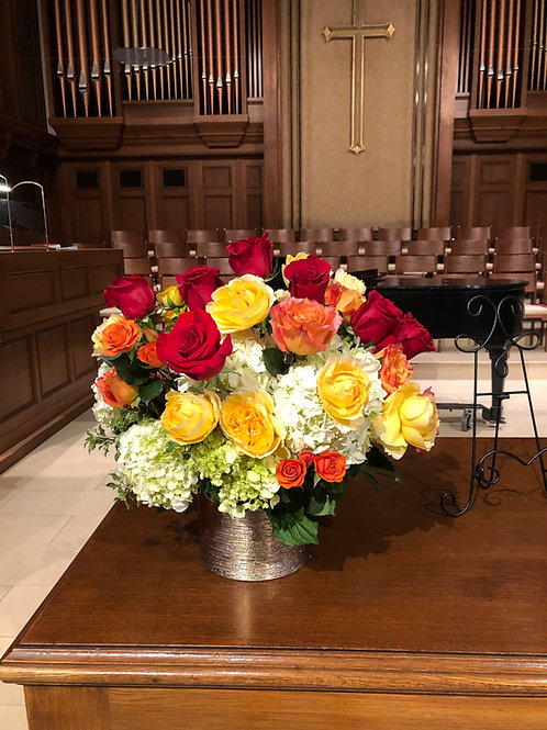 Colorful altar vase arrangement