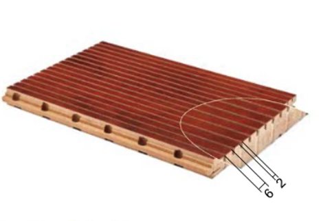 6/2 wooden grooved acoustic panel