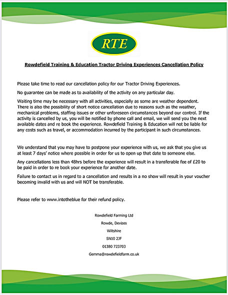 Tractor Driving Experiences Cancellation