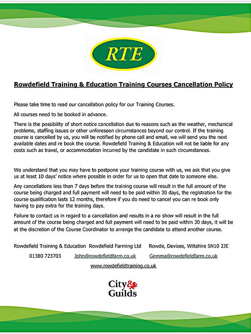 Training Course Cancellationpolicy for w