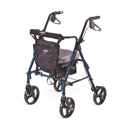 "Deluxe Comfort Rollator with 8"" Wheels and 300 lb. Weight Capacity, Blue"