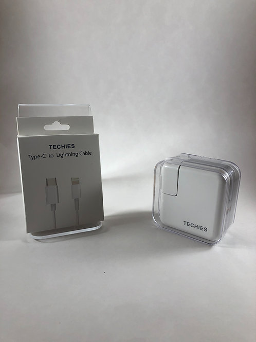 Techies 29w Wall adapter/USB-C to Lightning Combo