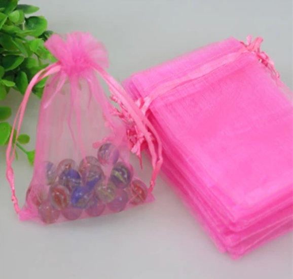 100 ct Bubblegum Pink Organza Bags  -- 8 x 11