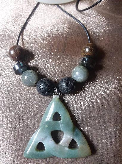 Neutral Jade Trinity Knot Pendant w/ Lava Stone and Hematite Beads