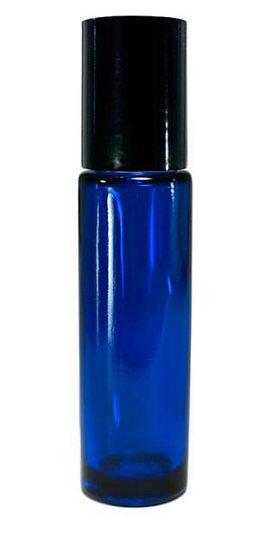 10ml Cobalt Roller Bottle w/ PLASTiC Lid & Stainless Steel Roller Ball