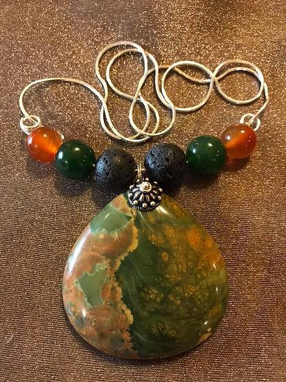 Indian Agate Pendant w/ Lava Stone, Carnelian Beads w/ Sterling silver