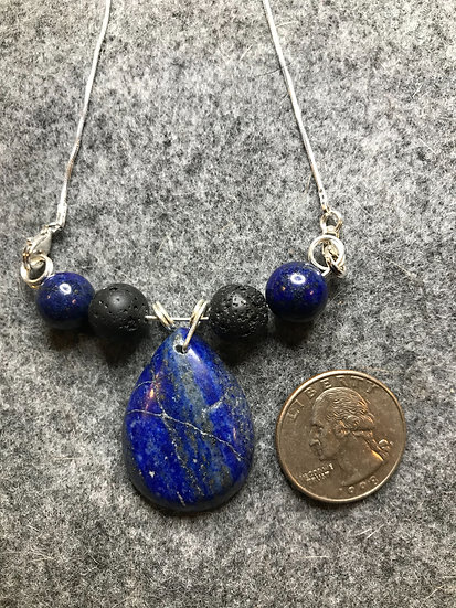Lazuli Lapis Pendant w/ diffuser beads on Sterling
