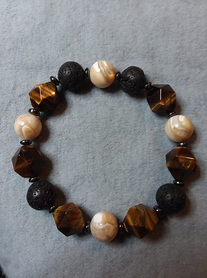 Faceted Tiger Eye, Trochus Shell, Hematite and Lava Stone Bead Diffuser Bracelet