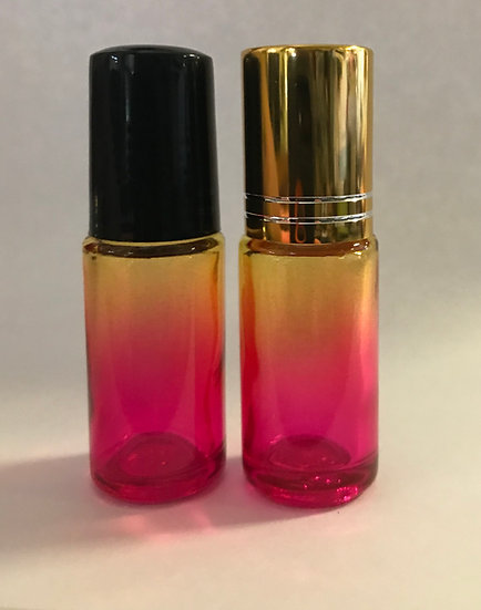 1 Count 5ml  Yellow / Pink Fade Roller Bottle w/  Lid  ---  (5 ml)