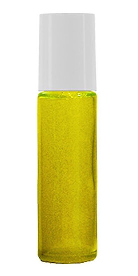 1 Count 10ml Yellow Roller Bottle w/ White Lid & Stainless Steel Roller Ball