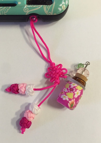 Hot Pink Fimo Clay Phone Fob Diffuser