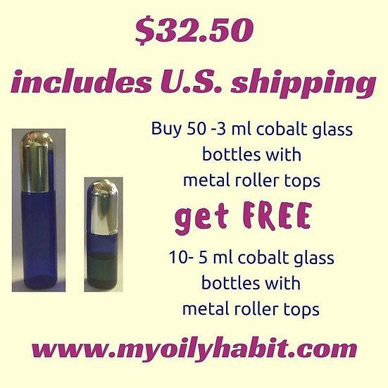 Cobalt Blue Glass 3ml Roller Bottle Special