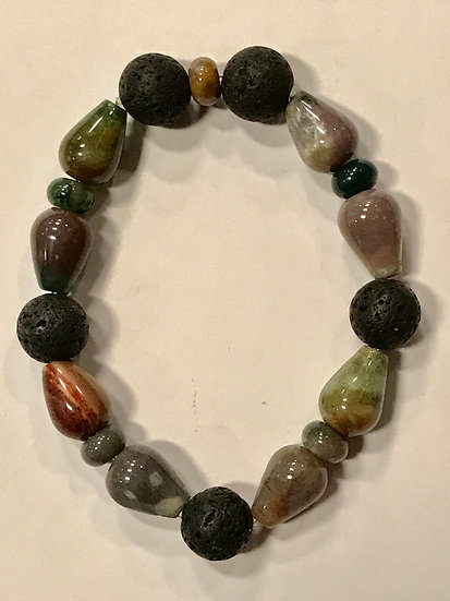 Oblong Indian Agate and Lava Bead  Bracelet