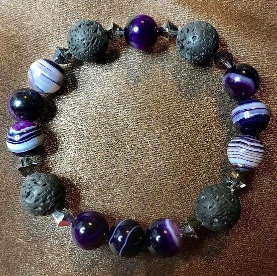 Purple agate, Swarovski crystals & Lava Stone stretch bracelet