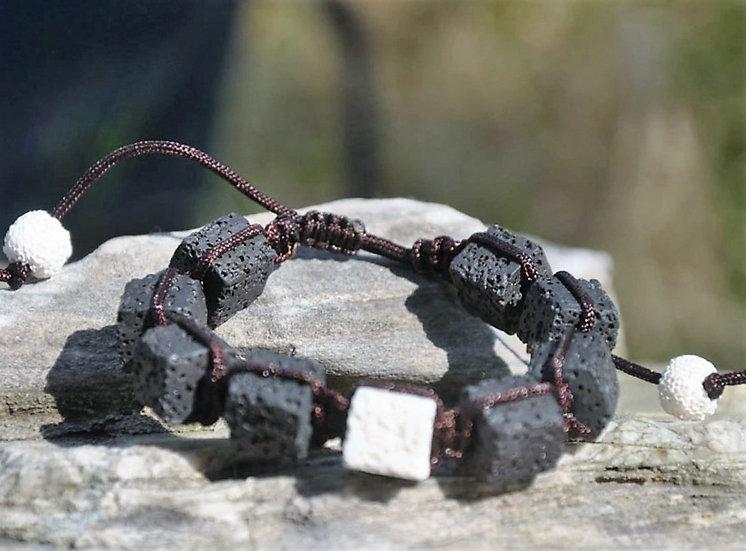 white & black Square Bead Lava Diffuser Bracelet